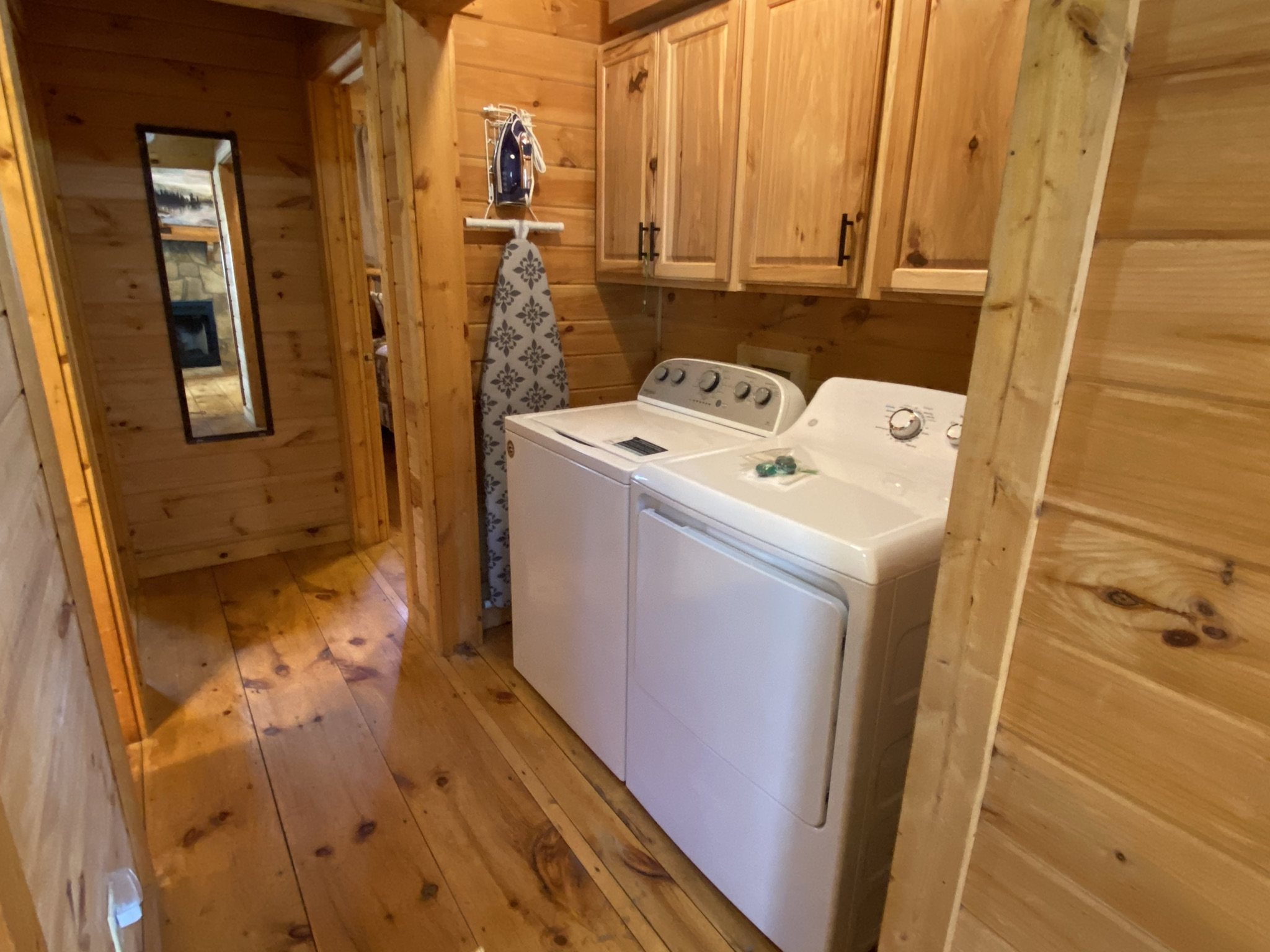 Full-size washer and dryer and iron and ironing board