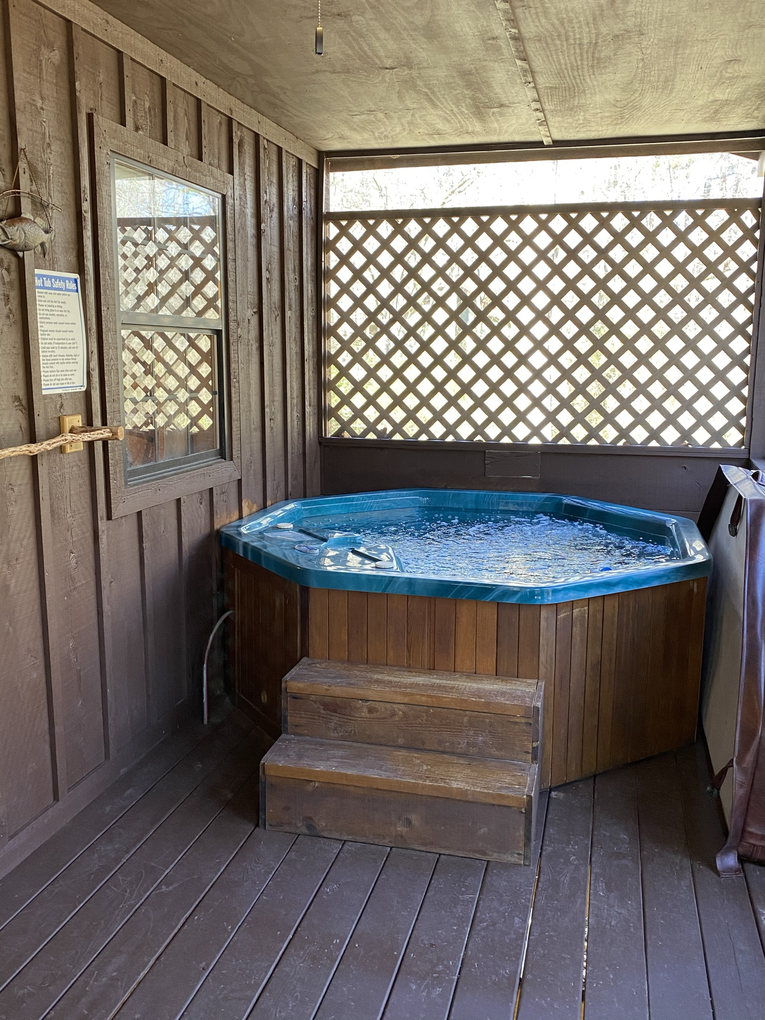 After a day of hiking, relax in the private hot tub.