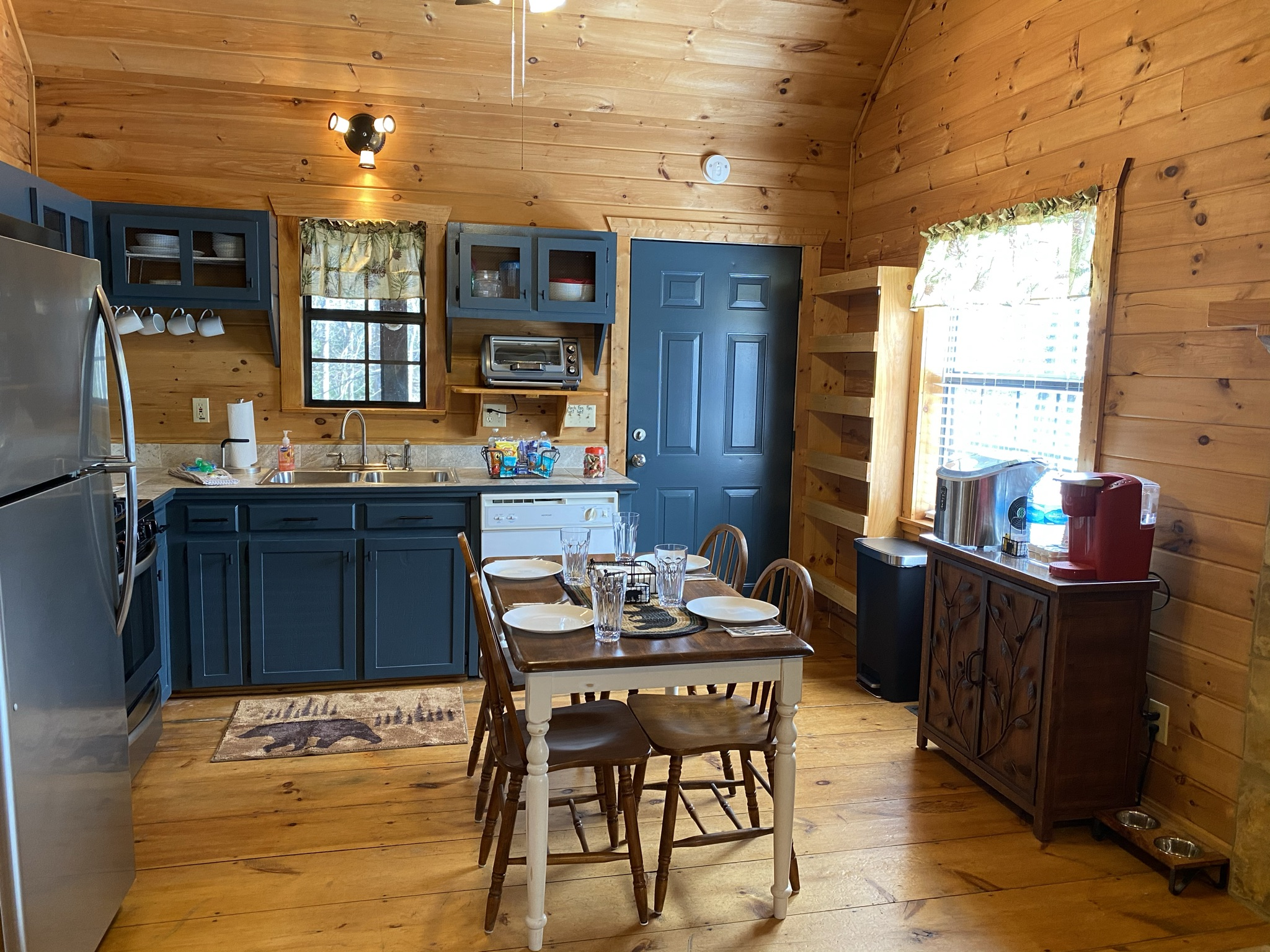 Kitchen includes Keurig, blender, crockpot, toaster oven, iced tea maker, electric kettle, drip coffee maker