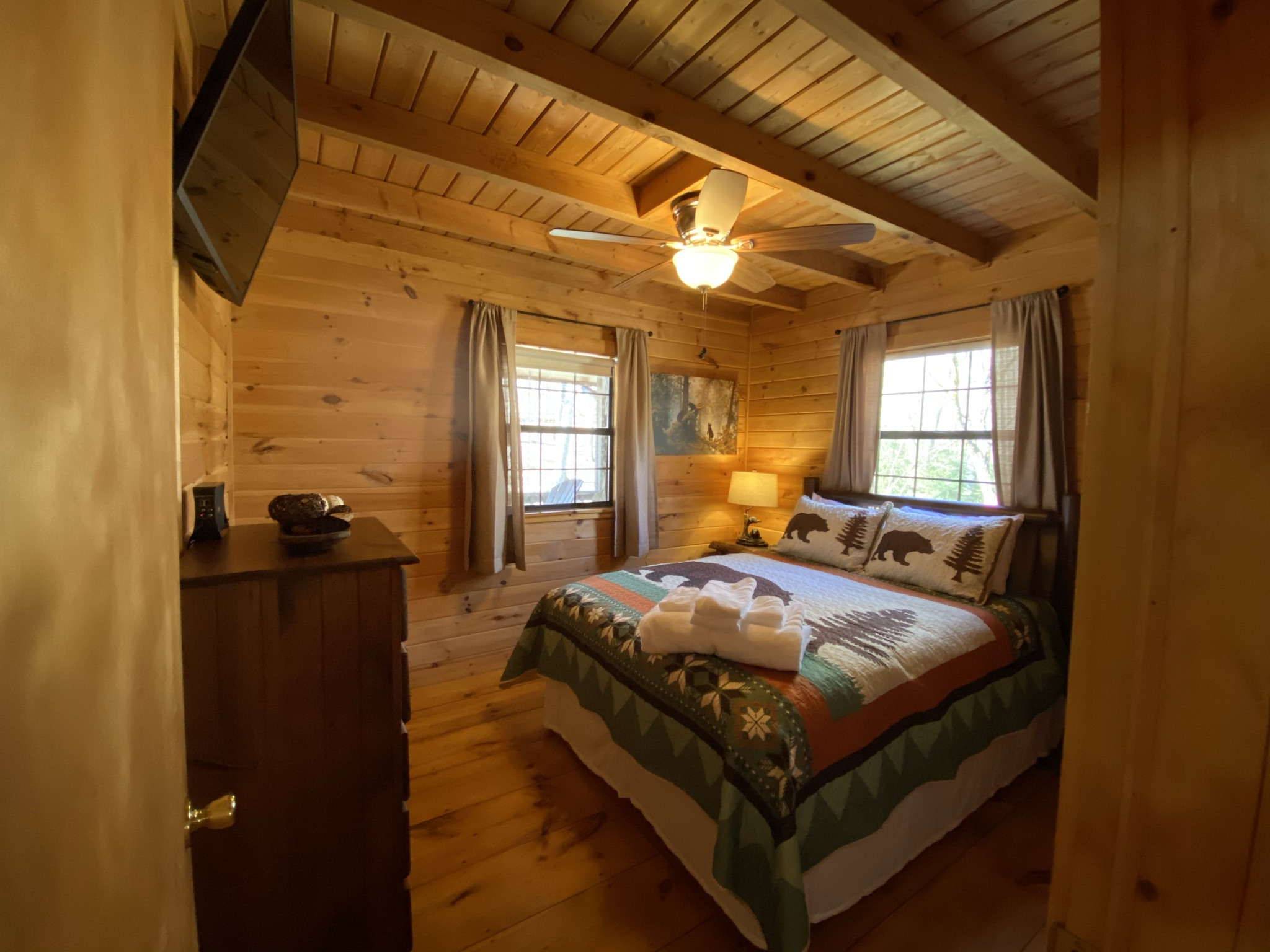 Bedroom two has a queen-sized bed