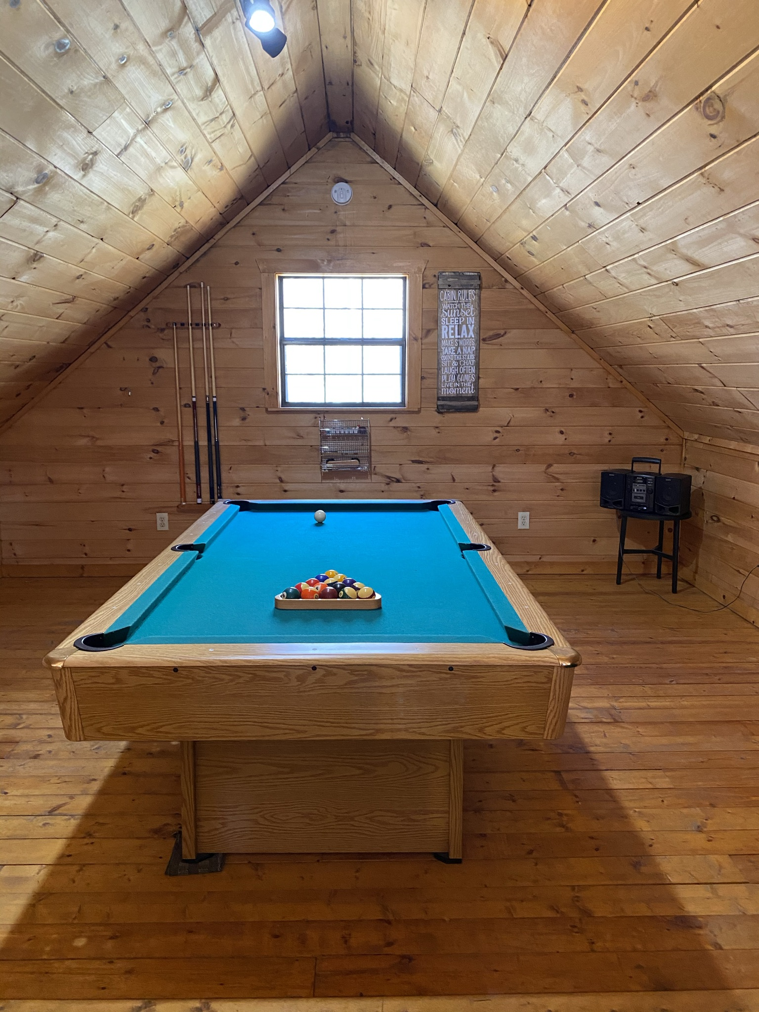Test your skills at the pool table in the loft.