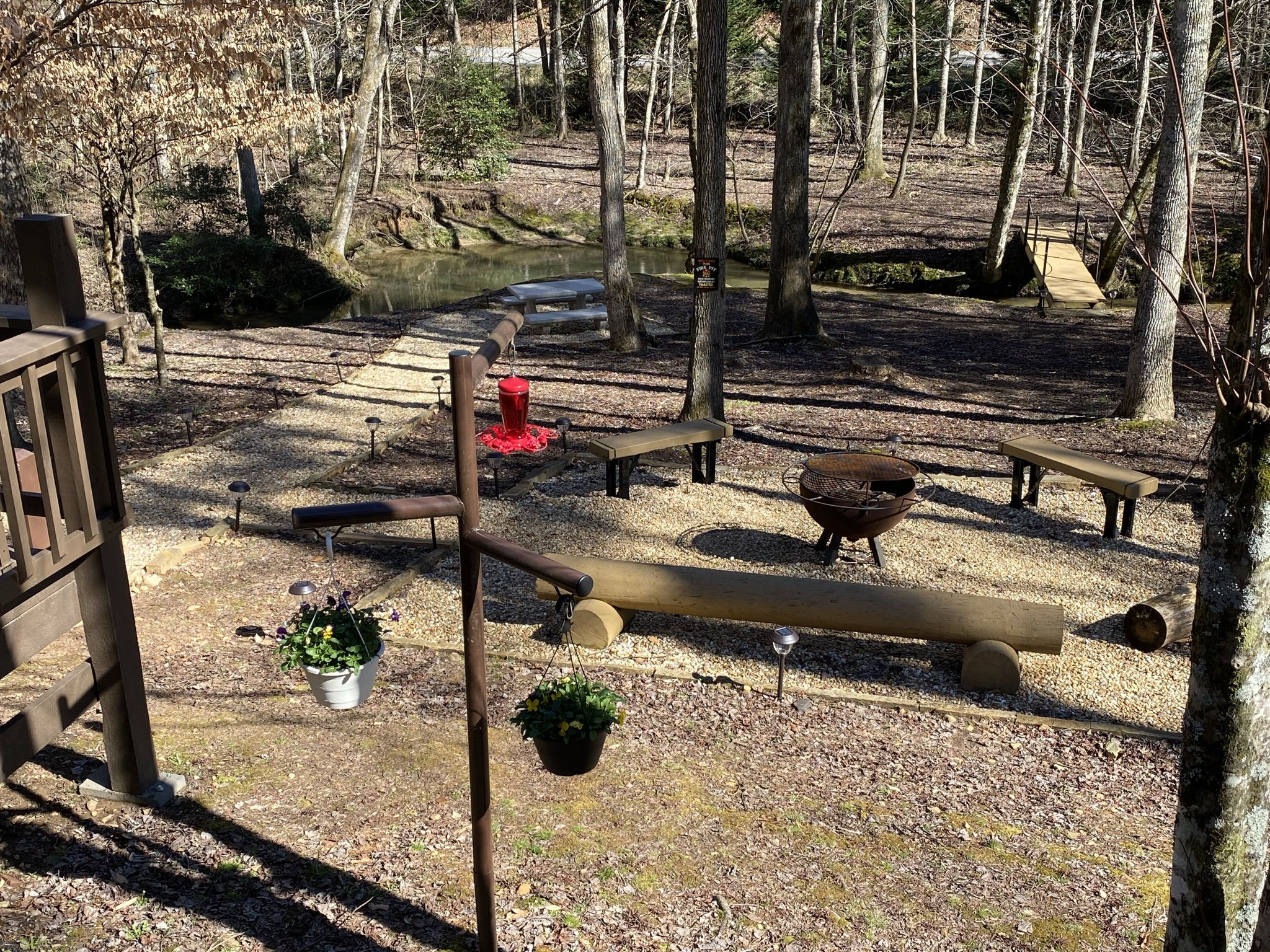 Large firepit area for enjoying the cool nights roasting marshmallows and making s'mores